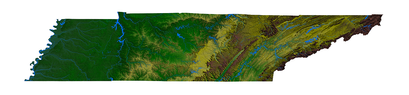 Digital Relief Image of Tennessee
